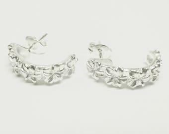 Plumeria Sterling Silver Earrings Screwback! Made in Hawaii!