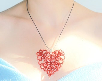 Large red lace tatting Filartistique heart pendant
