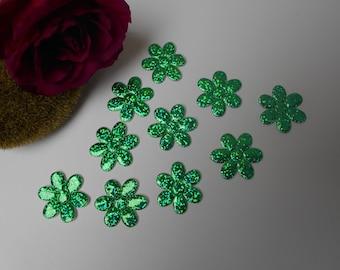 10 green lazer flower appliqués