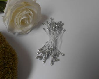 Stamens for silver flowers - set of 30