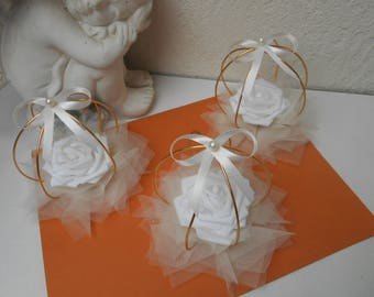 Table centerpiece - table decoration ivory white and gold