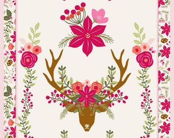 Torchon de cuisine motif poinsettia et tête de cerf Lin Coton encre biologique -kitchen Tea towel poinsettia deer head  pattern cotton linen