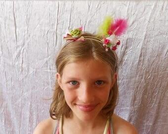 headband headband two row color fuchsia and green