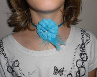 Child Ribbon necklace or adult turquoise flower