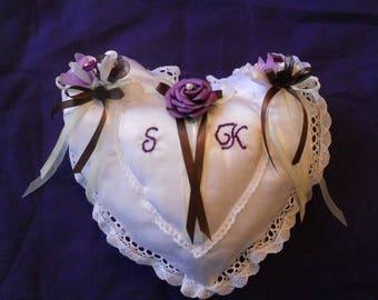Eggplant satin heart wedding ring cushion / chocolate