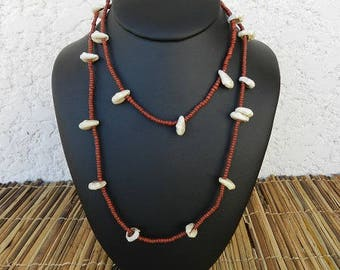 Necklace ethnic necklace African beads and cowries