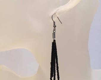 Black seed beads earrings