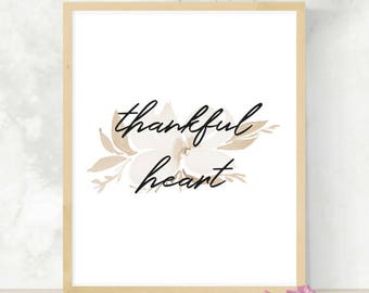 Thankful Heart Printable | DIY Thanksgiving Print | Watercolor Art | Thanksgiving Download | Fall Decoration | Gratitude Printable