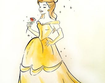 Drawing painting Princess Belle Disney beauty and the beast, watercolor sketch effect
