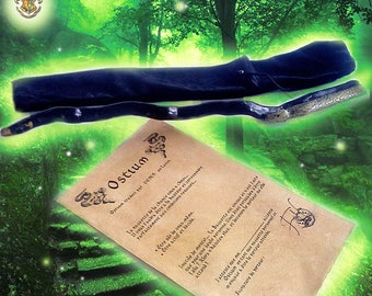 Carved wooden wand, hand-made: Ostium (case + parchment gift!)