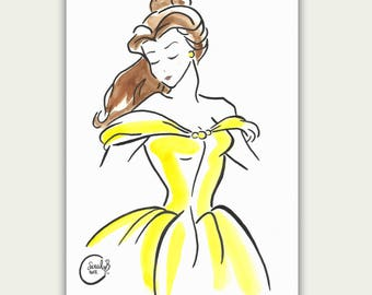 Illustration Drawing Princess Belle Disney Beauty And The Beast Watercolor Sketch Effect