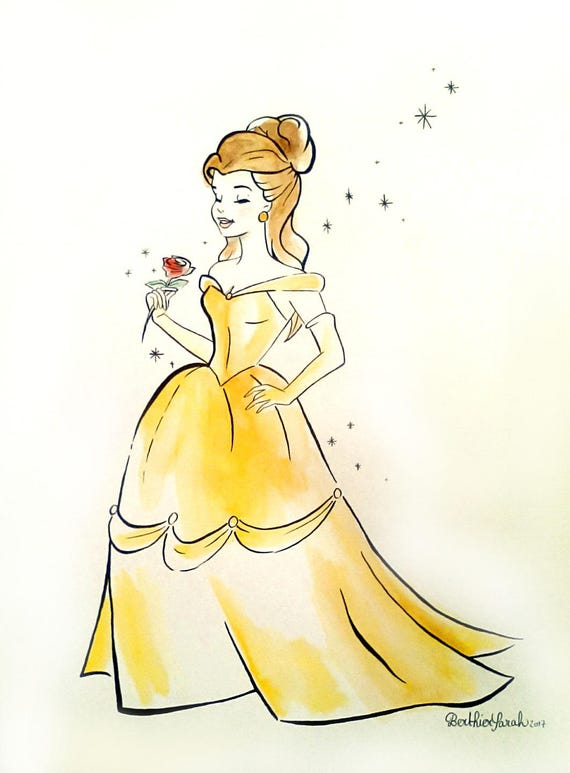 Drawing Painting Princess Belle Disney Beauty And The Beast