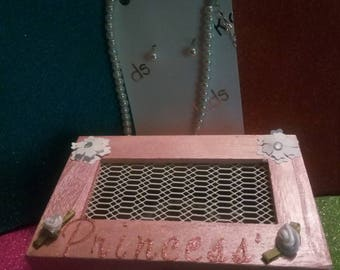 Hand painted jewelry box with kids jewelry set