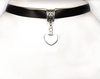 Satin with Silver 925 heart Choker
