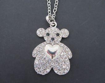 Large pendant, Teddy bear with Rhinestones necklace.