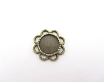 A support cabochon, pendant, forms color flower tan for round cabochon 12mm
