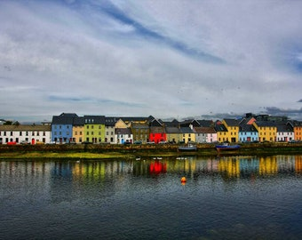 Colorful houses A4 Picture of Galway Bay Ireland
