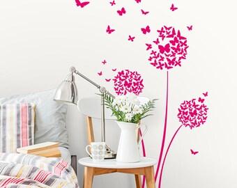 Butterflies Dandelion Flower Wall Decals-Dandelion Wall Decal-Nursery wall decals-Floral Ball Decals-Dorm decor-Butterfly decals-Home decor