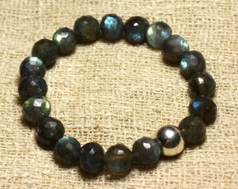 Bracelet 925 sterling silver and 9-10mm faceted Labradorite stone