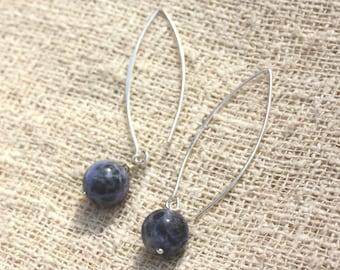 Earrings Silver 925 40mm - 10mm Sodalite