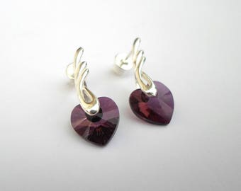 Lilac swarovski heart earrings - sterling silver wing shape