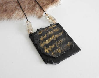 Black necklace for woman - black and gold scroll necklace - square black and gold jewelry - gift idea