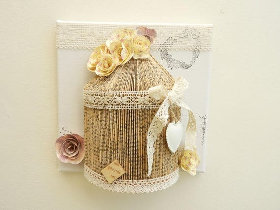 Tableau style shabby chic cage oiseaux dentelle fleurs for Tableau style shabby chic