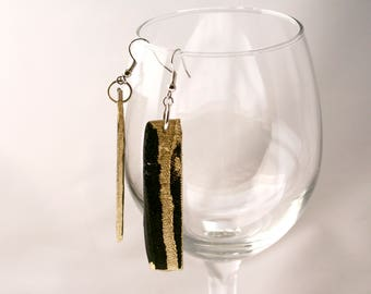 Textured Black and Gold Earrings