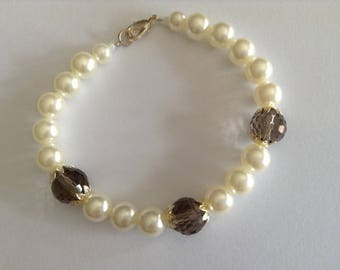 Imitation pearls bracelet faceted Bohemian beads