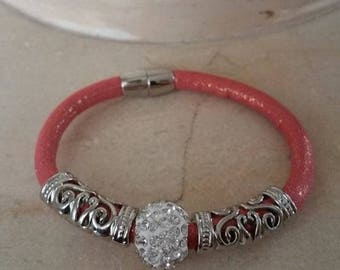 Coral glitter rhinestone shamballa bead, bracelet