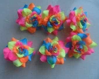 set of 6 multicolored 4 cm flowers collection