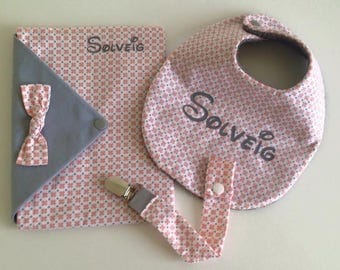 Protected personalized notebook, bib and pacifier pouch