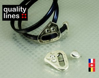 Silver Clasp in zamak with Rhinestones and tip for flat leather 5mm to 6mm / 2mm bracelet