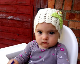 light yellow color crochet knitting child hat/handmade beautiful sweety hat for girl with a flower /lovely touch/ready to ship/