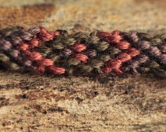 Khaki men, orange, purple Friendship Bracelet