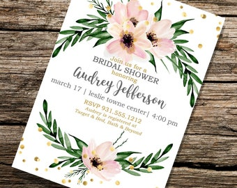 Printable Customized 5x7 Floral Pink and Green Bridal Shower Invitation