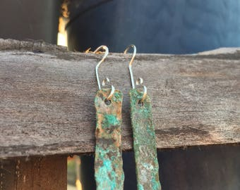 Cosmic Patina Drop Earrings, Handmade, Hammered Brass, Festival Swag, Minimalist, Simple, Classy, Textured Earrings, Patina