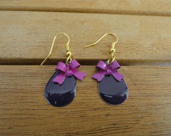 sequin gold tone earrings with plum water drops and matching bow