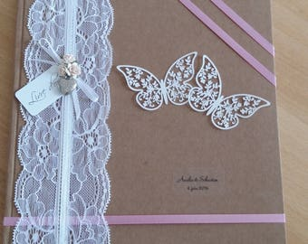 Craft lace and satin to be personalized wedding guest book