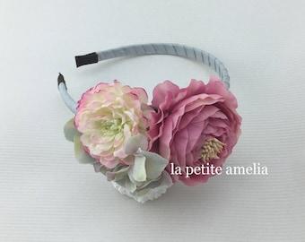 Flower Headband Blue Grey/ girl's headband/ luxe headband/ flower girl/ bridesmaid/ Melbourne Cup Races Race Hair Piece Floral