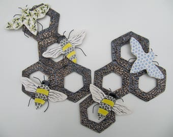 Manchester bees, forget-me-not flowers, honeycomb, decorative wall art, symbolic art