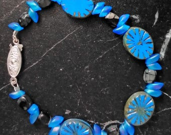 Bracelet - blue grey Czech glass - Jasper - silver plated
