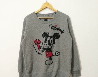 RARE!! Mickey Disney Artwork Embroidery Sweatshirt Jumper Pullover Sweater