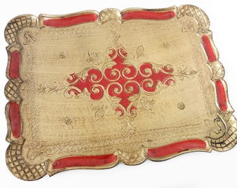 Large red and gold Florentine tray | gilt Italian tray, Hollywood Regency, Mid Century Modern
