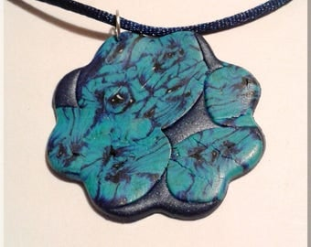 Necklace - Simple blue flower polymer clay earrings
