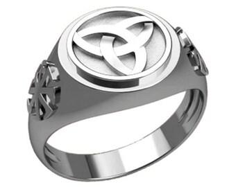 Triple Knot Irish Celtic Symbol Men Ring Sterling Solid Silver 925 SKU30356