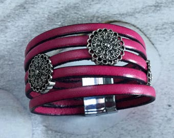 Leather Bracelet with four passes ethnic leather fuchsia pink