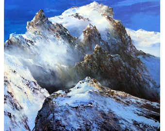 landscape mountain realization knife on canvas