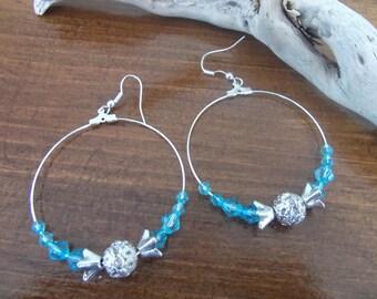 Blue, silver Crystal beads and rhinestone earrings
