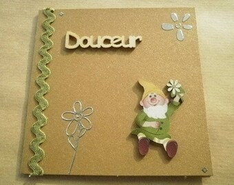 "square double golden beige color, message card ""softly"", dwarf garden decorations + matching envelope"